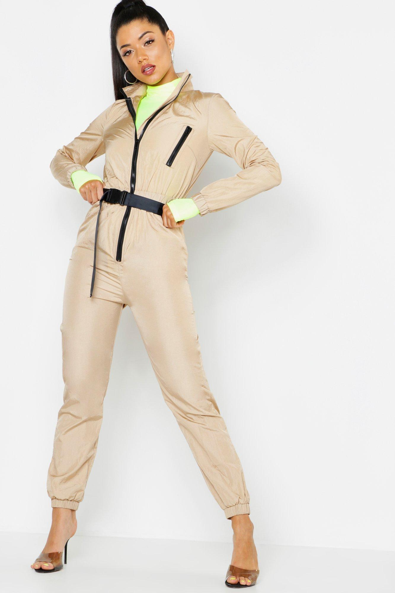 3def958f80c Boohoo. Women s Shell Suit Safety Buckle Jumpsuit