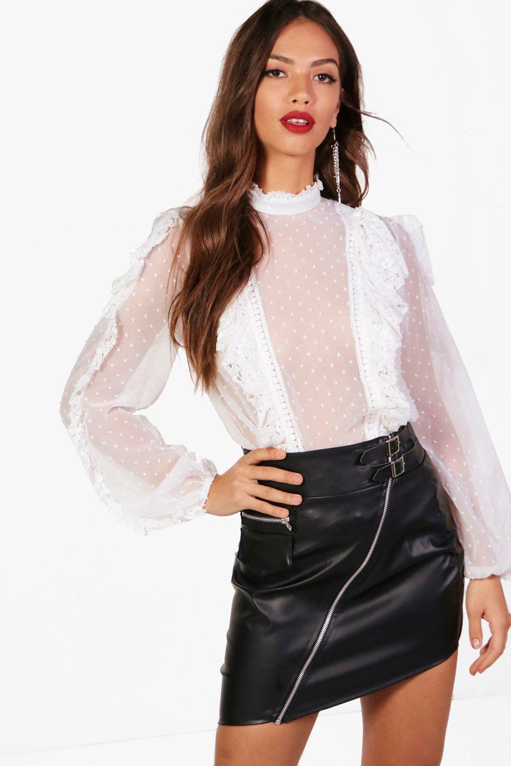 6a5a83f8e37 Boohoo Kyra Spot Mesh Lace Ruffle High Neck Blouse in White - Lyst