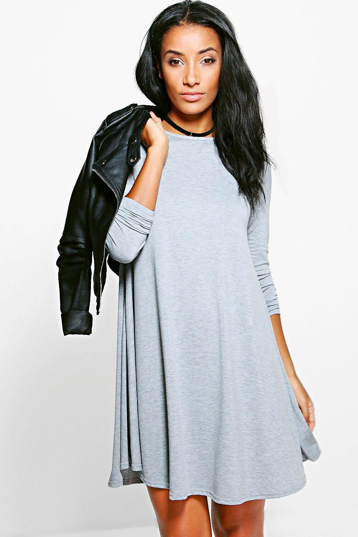1eb2b9985d7 Lyst - Boohoo April Scoop Neck Long Sleeve Swing Dress in Gray