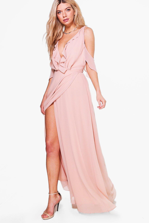 Boohoo Boutique Chiffon Frill Wrap Maxi Dress In Pink Lyst