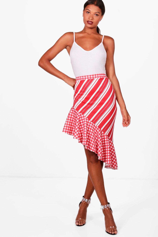 f161427cb54 Lyst - Boohoo Dina Gingham + Stripe Mix Ruffle Hem Midi Skirt in Red