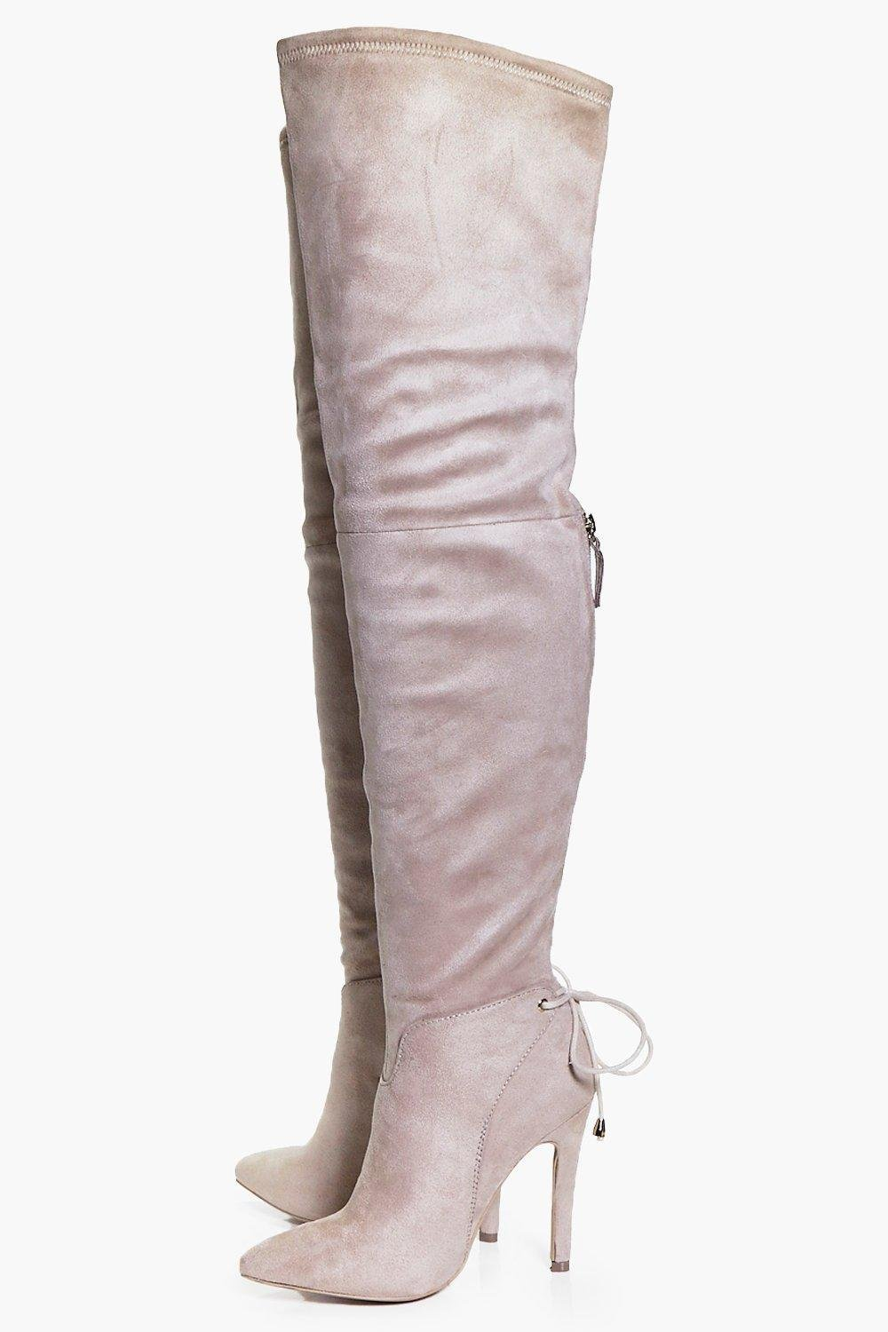Boohoo Nancy Pointed Toe Over The Knee Boot