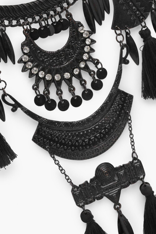 Boohoo Statement Tassel Detail Necklace in Black