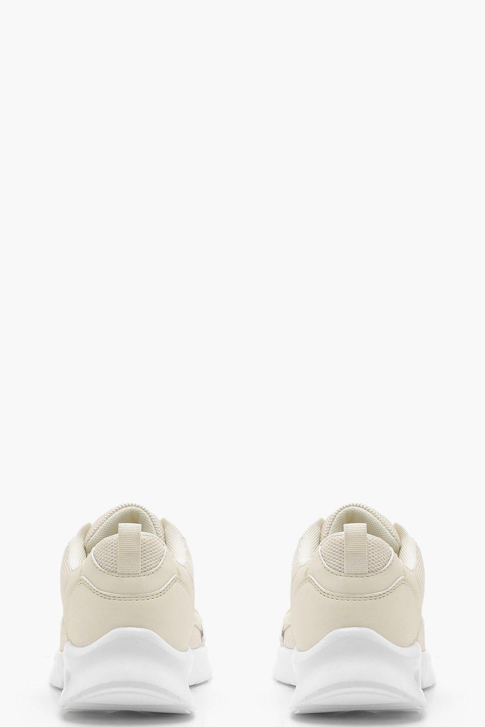 Boohoo Mesh Panel Sporty Trainers in Cream (Natural)