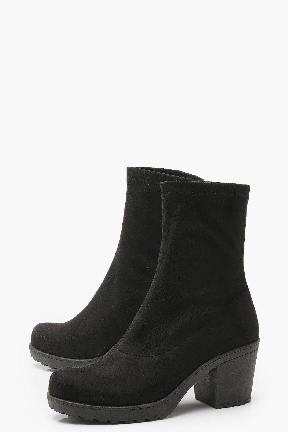 57a6305eb2d1 Boohoo - Black Wide Fit Cleated Pull On Sock Boots - Lyst. View fullscreen
