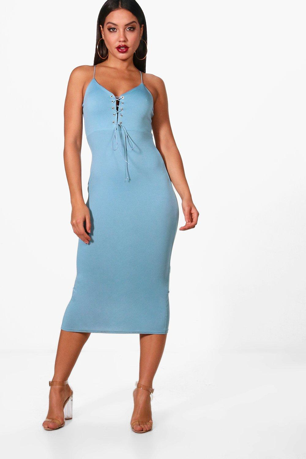 Lyst - Boohoo Allana Lace Up Plunge Eyelet Midi Dress in Blue