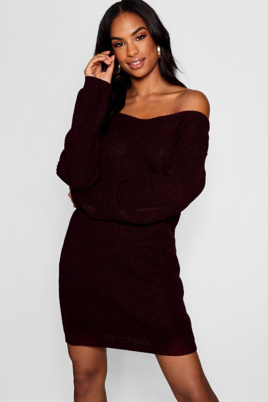 womens tall marl slash neck sweater dress