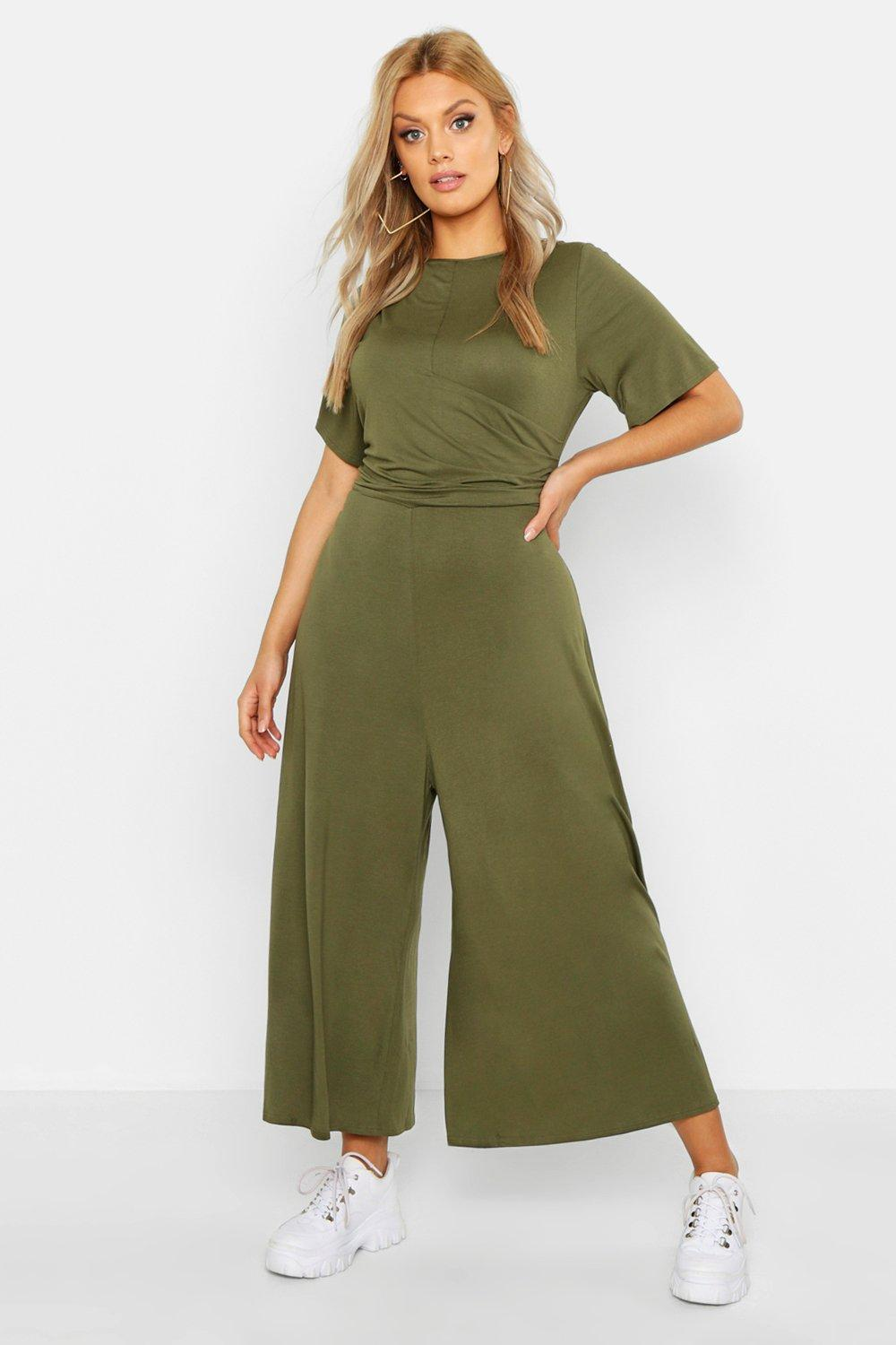 00372158fa3d Lyst - Boohoo Plus Twist Detail Cap Sleeve Culotte Jumpsuit in Green