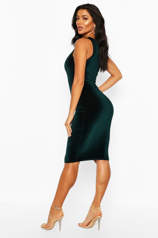 various colors new high wholesale online Womens Velvet One Shoulder Midi Christmas Party Dress