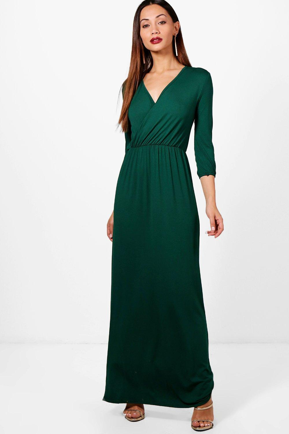 42e743bc6be Boohoo Petite Wrap Front 3 4 Sleeve Maxi Dress in Blue - Lyst