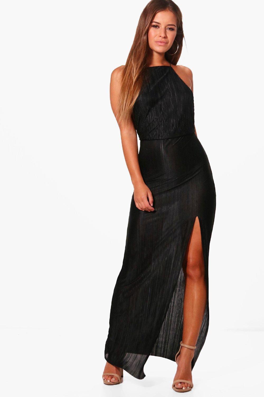 petite pleated thigh split maxi dress