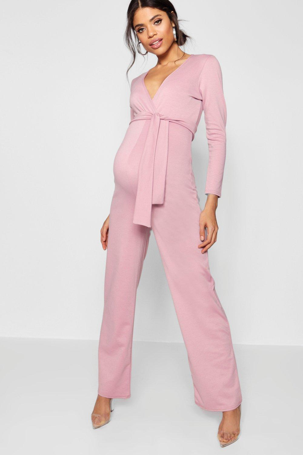 2a8c7aaf1089 Lyst - Boohoo Maternity Tie Front Plunge Jumpsuit in Pink