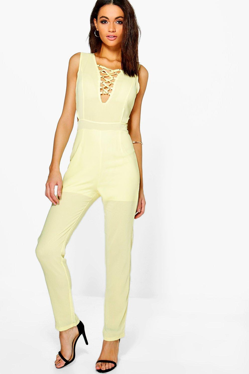 Boohoo Gemma Lace Up Front Chiffon Jumpsuit in Yellow | Lyst