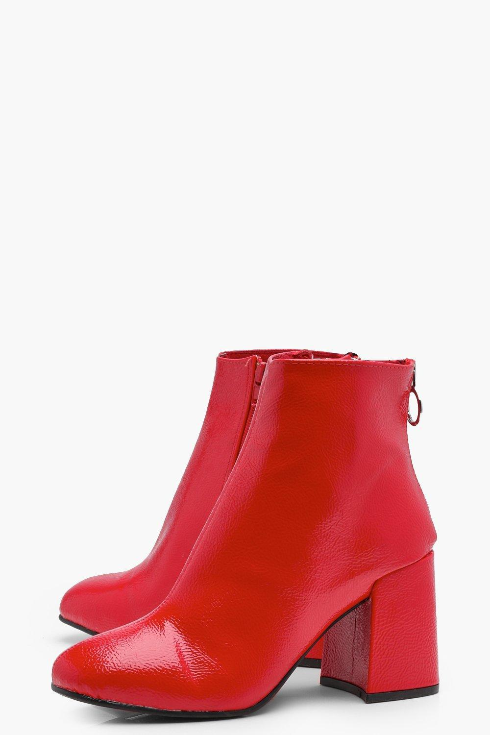 521ab6d6dd1d Boohoo - Red Patent Block Heel Ankle Shoe Boots - Lyst. View fullscreen