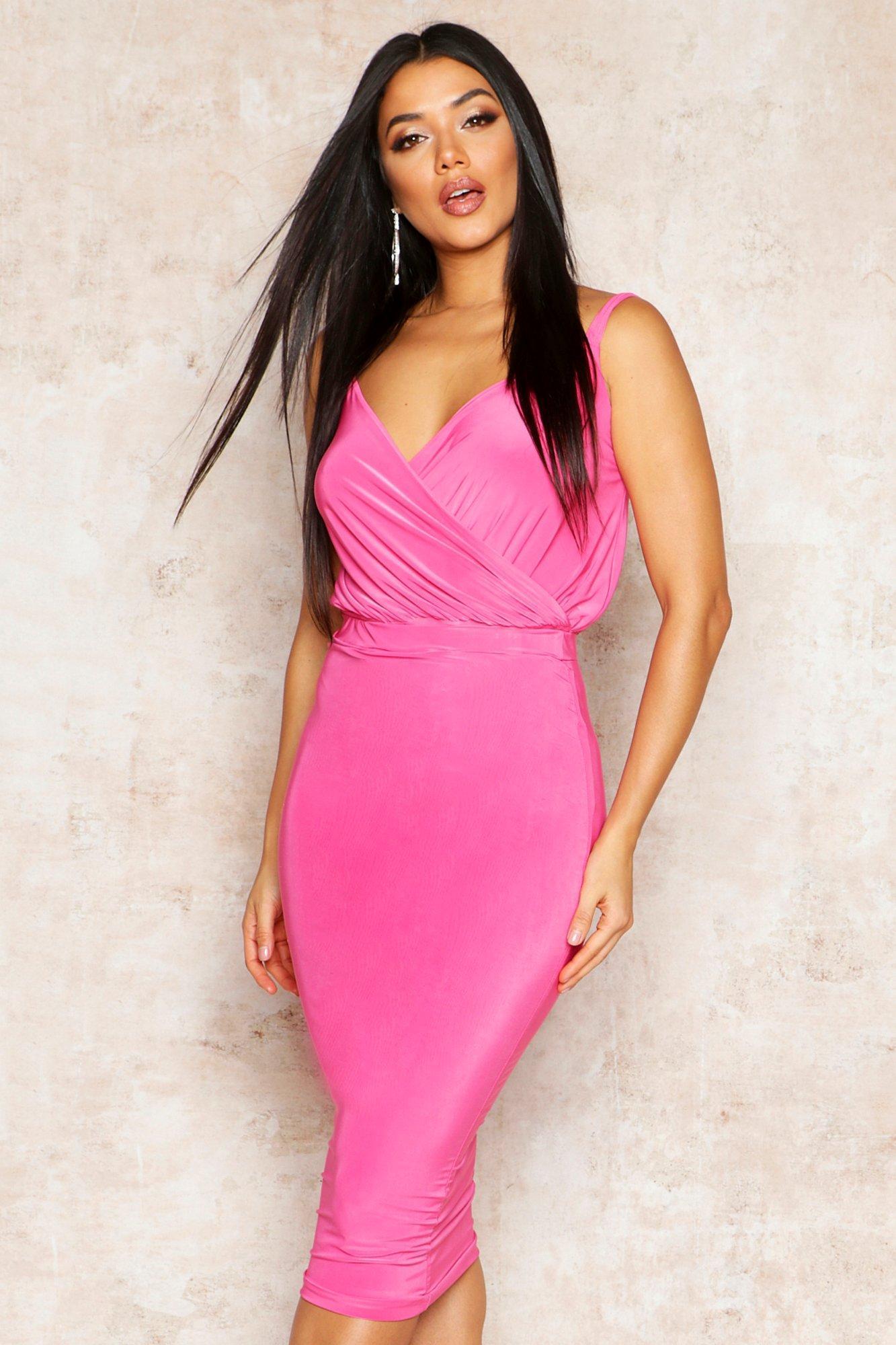 fdf15254f Lyst - Boohoo Double Slinky Midi Skirt in Pink