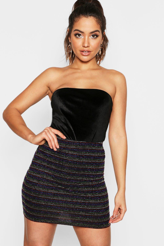 b43ef66cf699 Boohoo Metallic Rainbow Stripe Mini Skirt in Black - Lyst