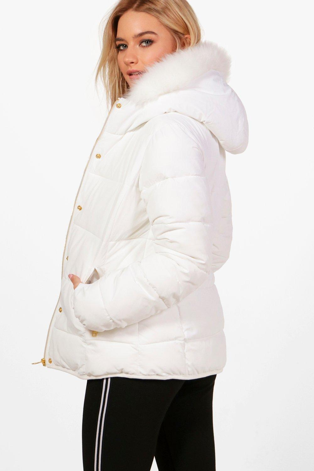 Lyst Boohoo Fitted Padded Jacket With Faux Fur Hood In White
