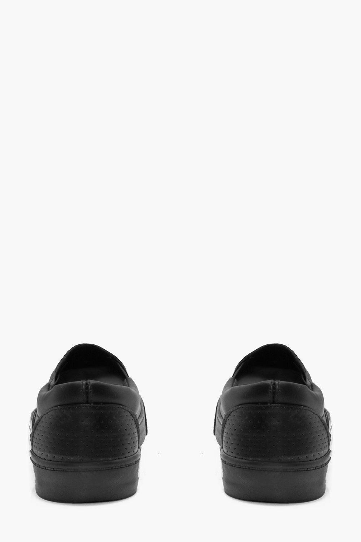 Boohoo Denim Perforated Slip Ons in Black for Men