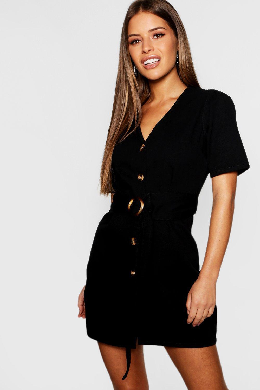 d59b56b116 Boohoo Petite Mock Horn Button Denim Dress in Black - Lyst