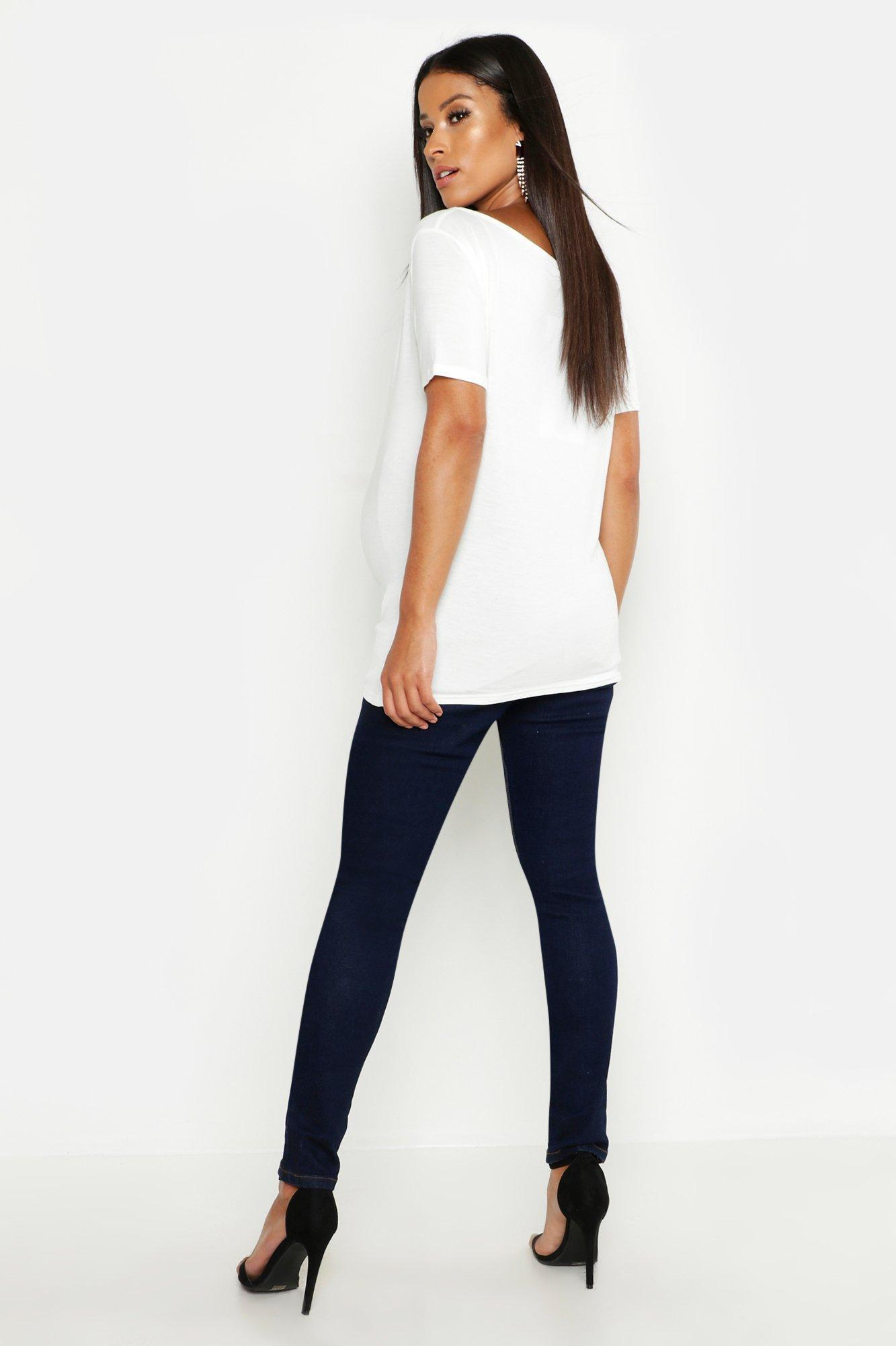 b2166264ab3a6 Boohoo - Blue Maternity Over The Bump Skinny Super Stretch Jean - Lyst.  View fullscreen