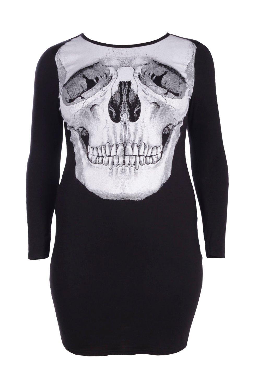 d2ae9b37c583 Boohoo Plus Lola Skeleton Skull Printed Halloween Dress in Black - Lyst