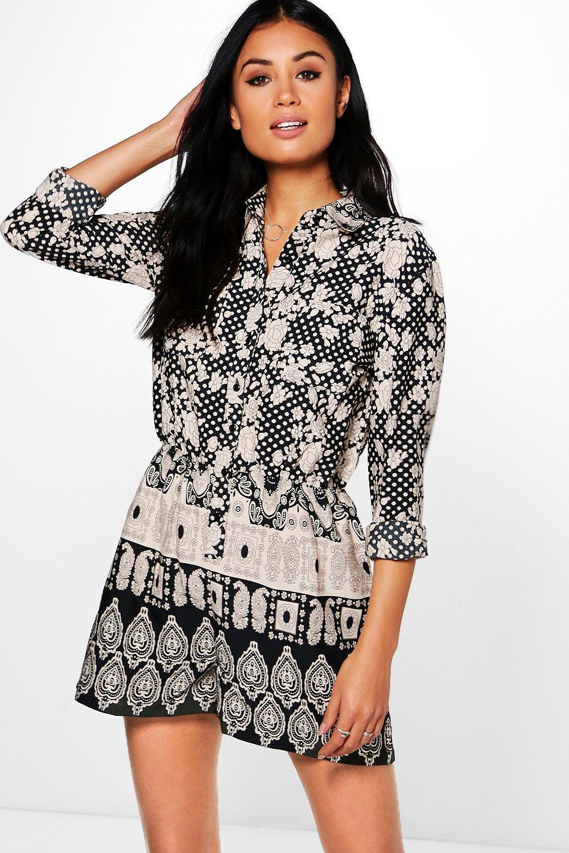 acdb67906ee Boohoo Sophie Multi Print Shirt Style Playsuit in Black - Lyst
