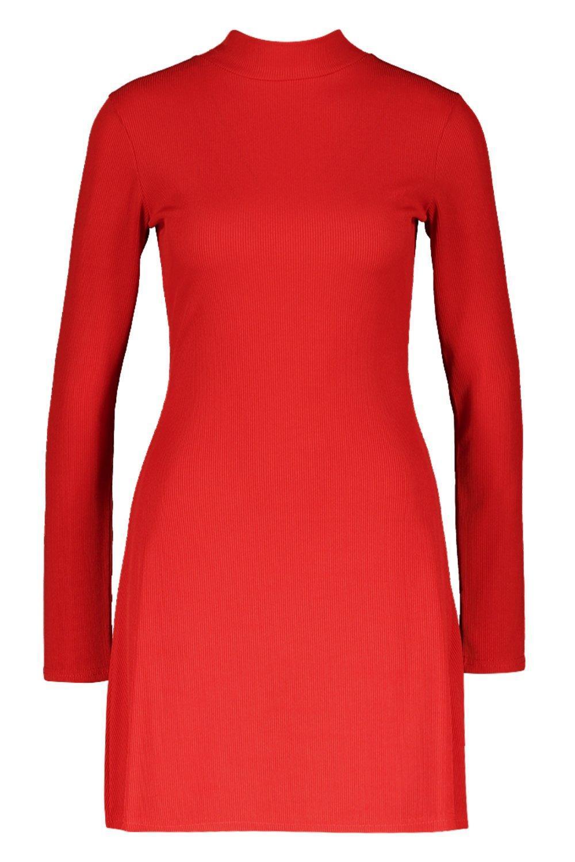 c1f9f278bd1b Boohoo - Red High Neck Long Sleeve Swing Dress - Lyst. View fullscreen