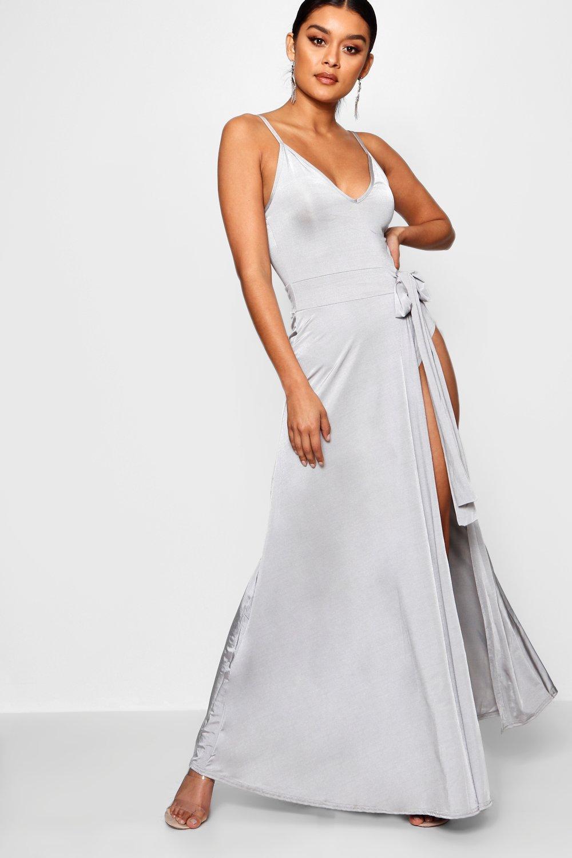 b754092a4ef Boohoo Slinky Strappy Side Tie Maxi Dress in Gray - Lyst