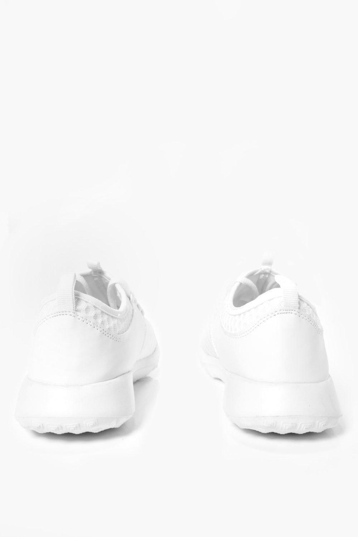 Boohoo Denim Honeycomb Mesh Running Trainers in White