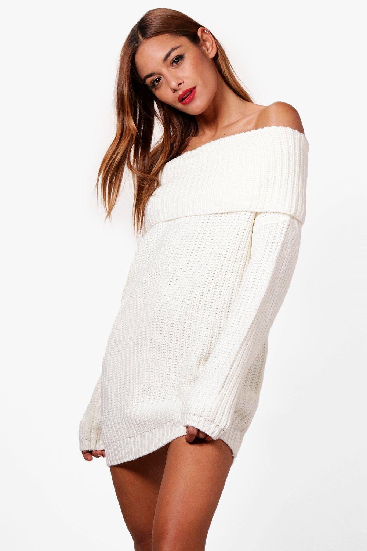 d9da0d0347 Lyst - Boohoo Eloise Chunky Knit Bardot Jumper Dress in White