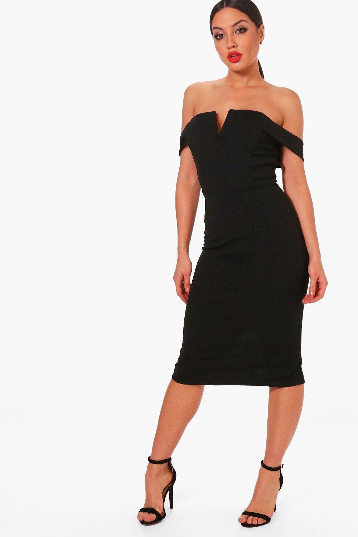 2b37254650bf Lyst - Boohoo Cara Bardot Midi Bodycon Dress in Black