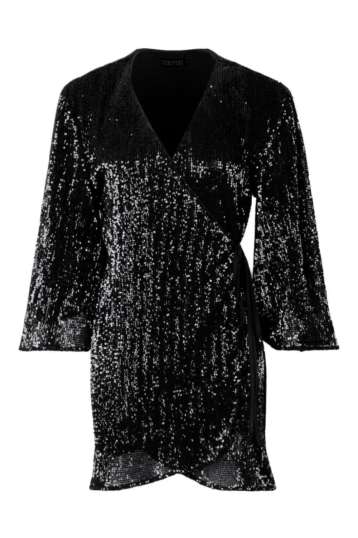 d3ce1f9532296 Boohoo - Black Pleated Sequin Wide Sleeve Wrap Dress - Lyst. View fullscreen