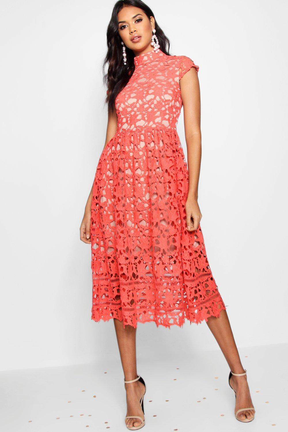 952cc4e0c80b7 Boohoo Boutique Lace High Neck Skater Dress in Red - Lyst