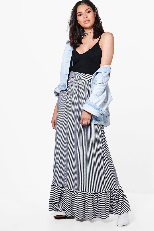 8f95e65a27 Boohoo Rain Monochrome Stripe Ruffle Hem Maxi Skirt in Black - Lyst