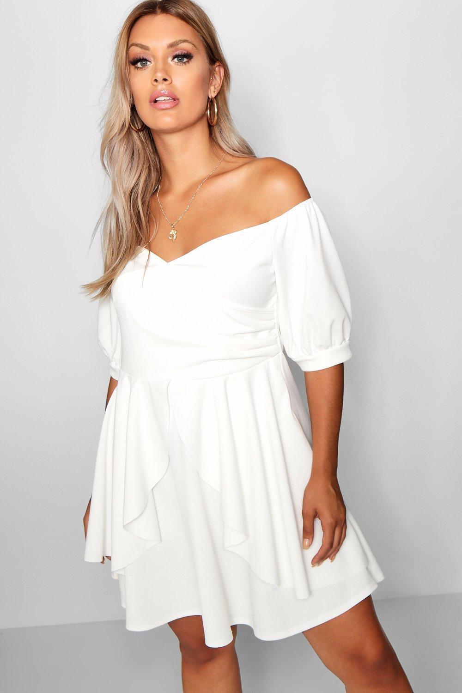b0ba1624294 Lyst - Boohoo Plus Bardot Ruffle Skater Dress in White