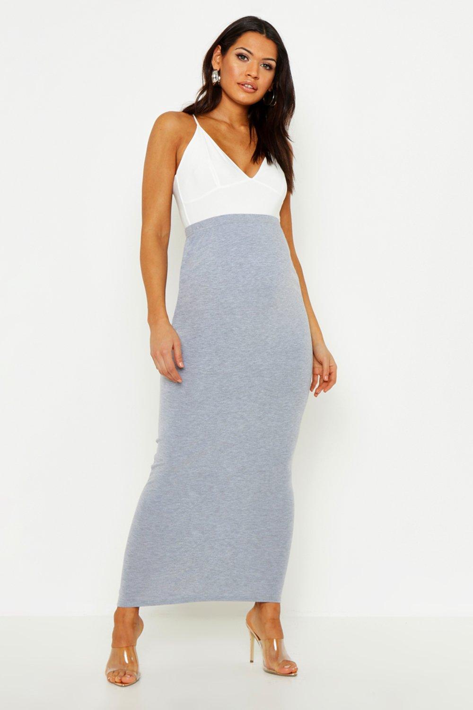 7ecd492728e95e Boohoo Maternity Over The Bump Maxi Skirt in Gray - Lyst