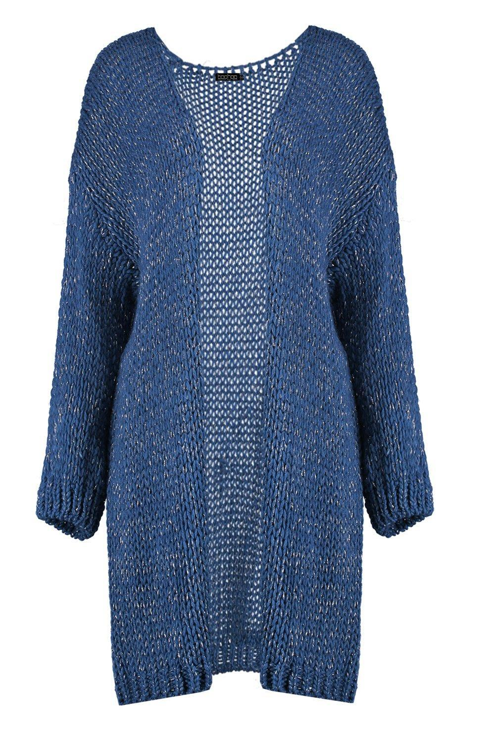 Boohoo Synthetic Lurex Knit Cardigan in Blue