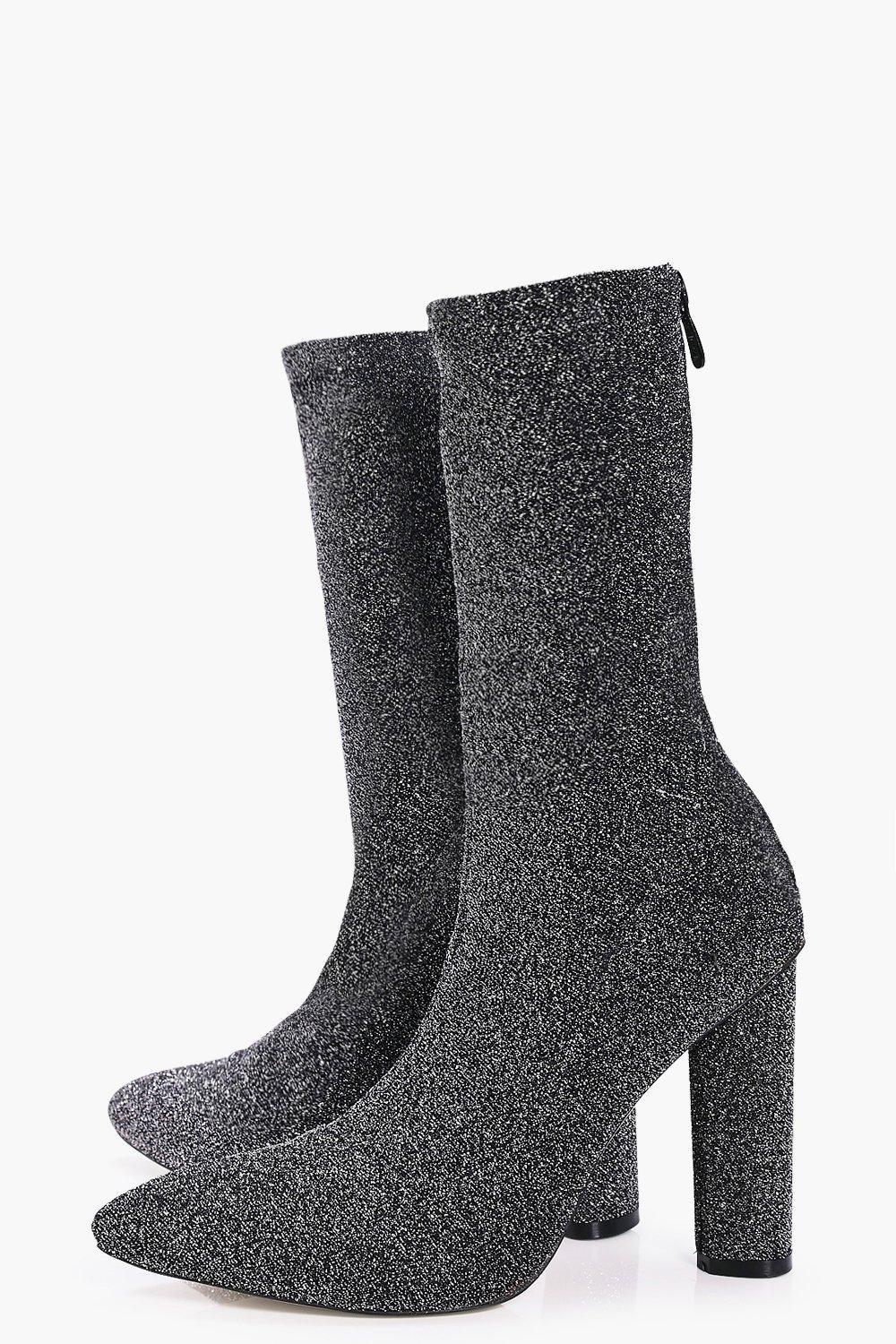 Boohoo Tilly Metallic Knitted Pointed Sock Boot