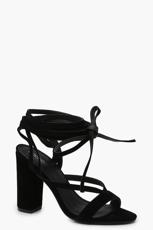 0995b0ccab4 Lyst - Boohoo Wrap Strap Two Part Block Heels in Black