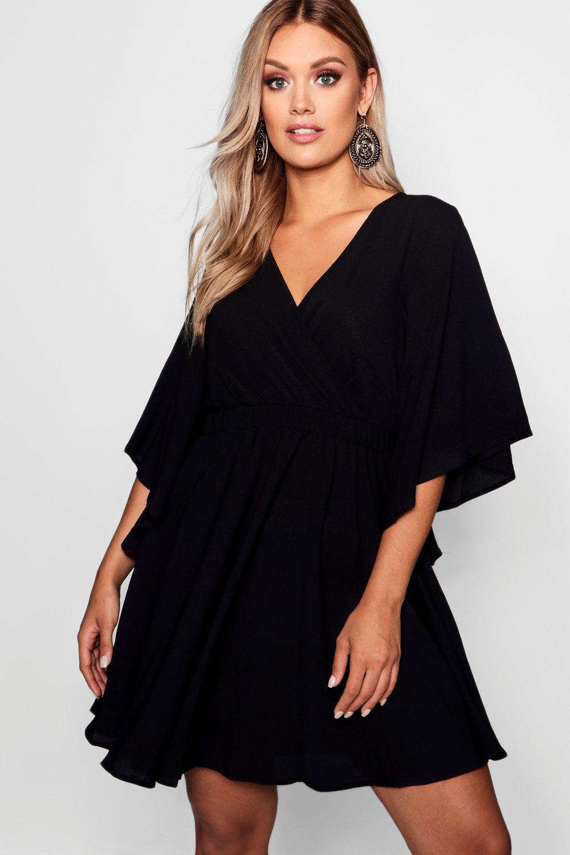 2522b699c0768 Boohoo Plus Kimono Sleeve Woven Skater Dress in Black - Lyst