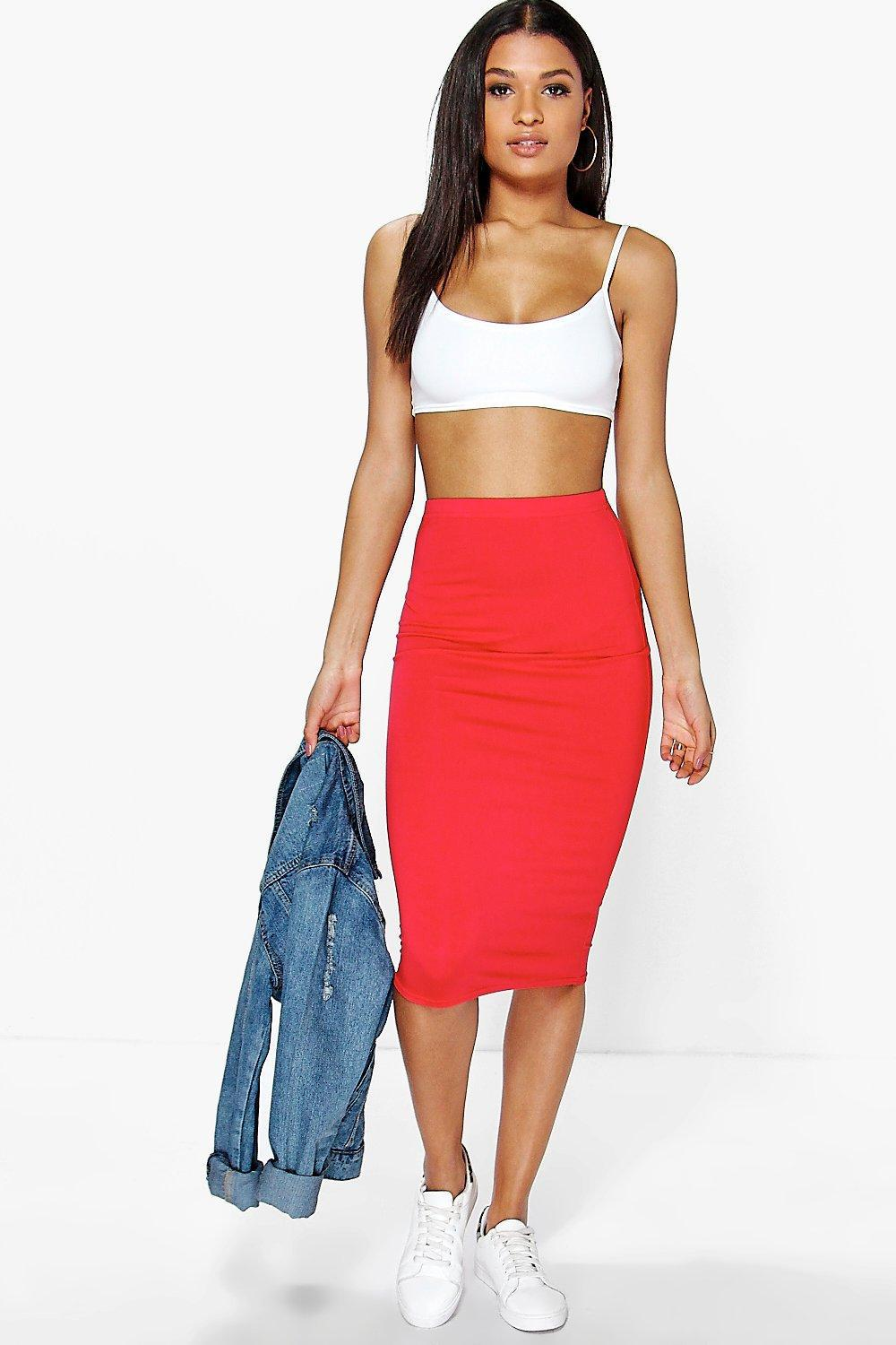 Boohoo Synthetic Alexis Basic Jersey Midi Skirt in Red   Lyst