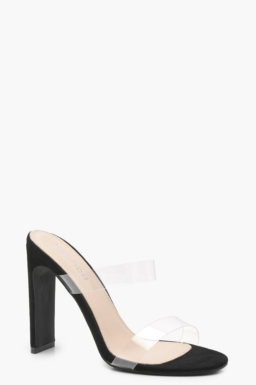 a10ef4b345 Boohoo Double Clear Band Mule Heels in Black - Lyst