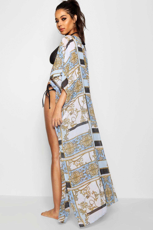 1fbed06f03f44 Boohoo - Blue Scarf Print Maxi Beach Kimono - Lyst. View fullscreen