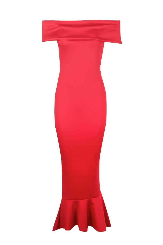 Boohoo Synthetic Bai Oversized Bardot Peplum Hem Maxi Dress in Red