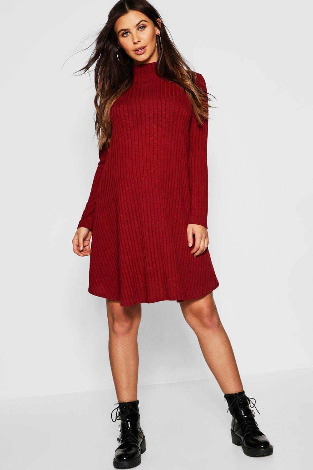 84a47644a5243 Boohoo Maternity Wide Rib Role Neck Swing Dress in Red - Lyst