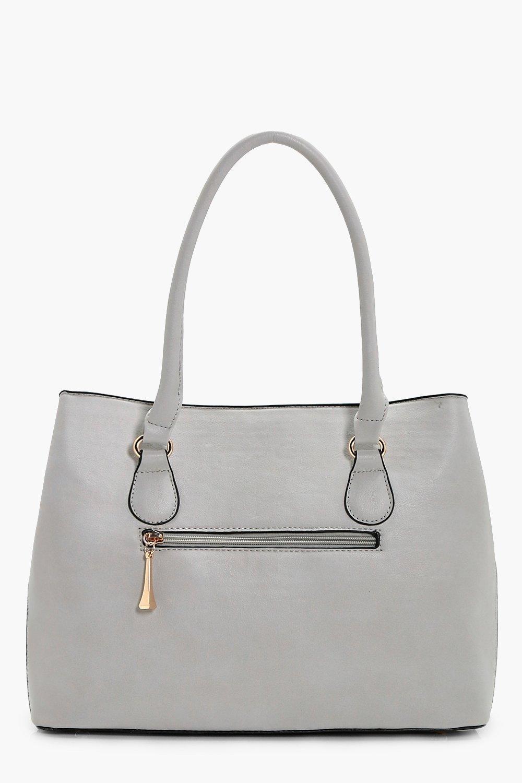 Boohoo Charlotte Metal Detail Tote Bag in Grey (Grey)