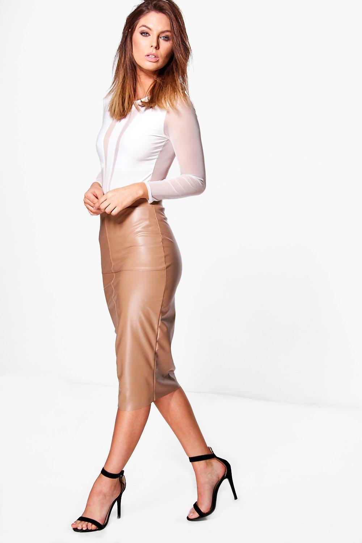 boohoo orla seamed leather look high waist midi skirt lyst