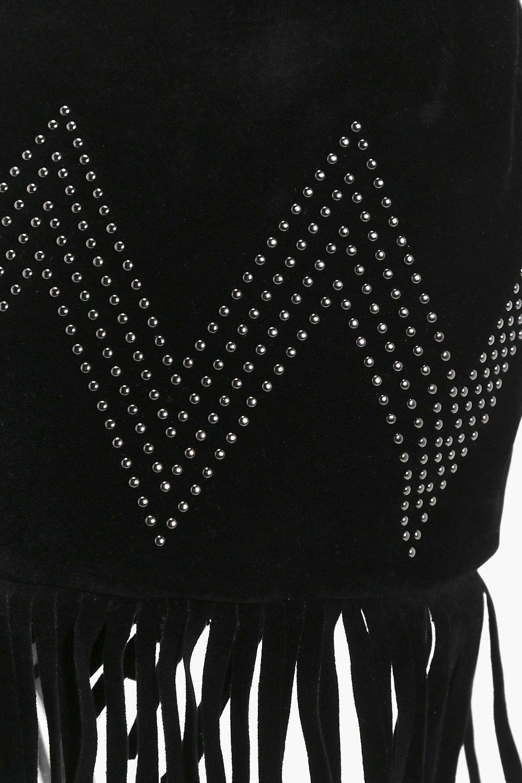 Boohoo Ivy Suedette Fringed Duffle Cross Body Bag in Black