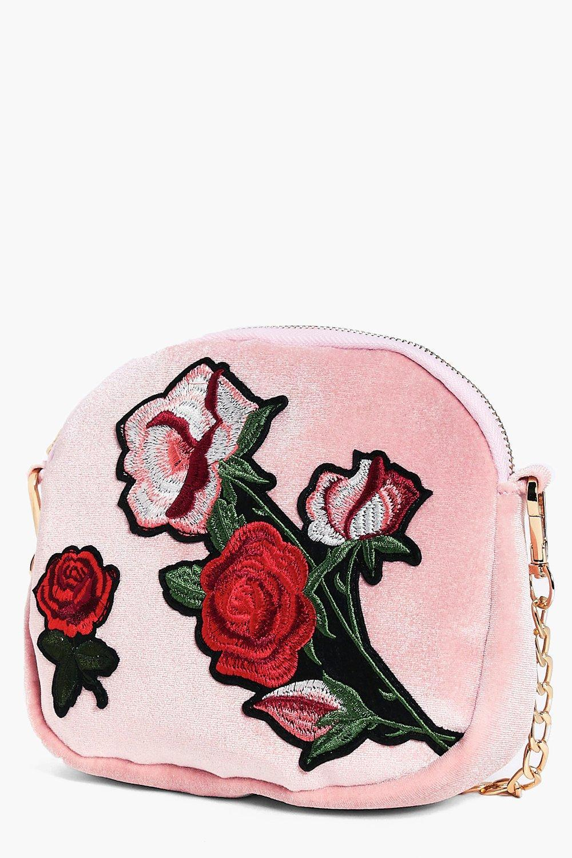 Boohoo Ava Velvet Floral Embroidered Cross Body Bag in Blush (Pink)