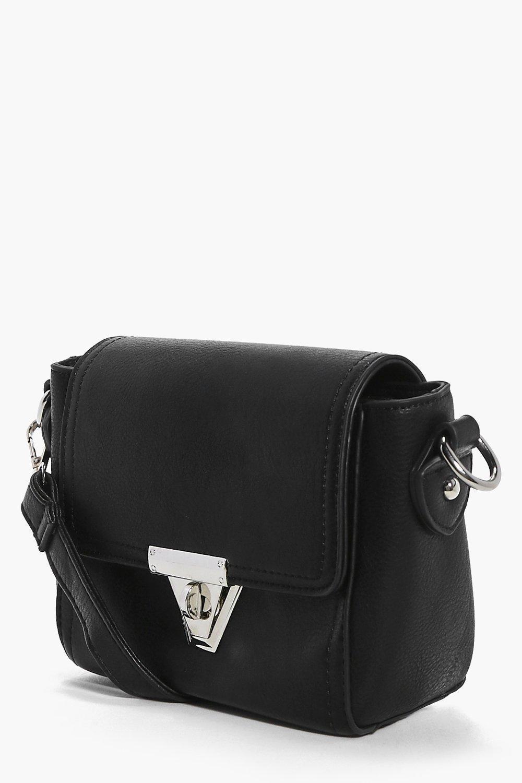 Boohoo Millie Mini Lock Front Cross Body Bag in Black